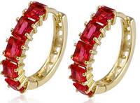 Серьги позолота рубиновые цирконы (GF387