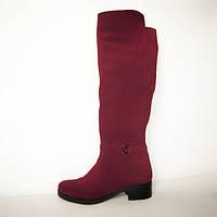 Ботфорты из натурального замша на устойчивом каблуке бордового цвета