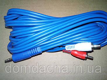 Шнур штекер 3,5 стерео на 2 штекера RCA диаметр 4мм синий 5м