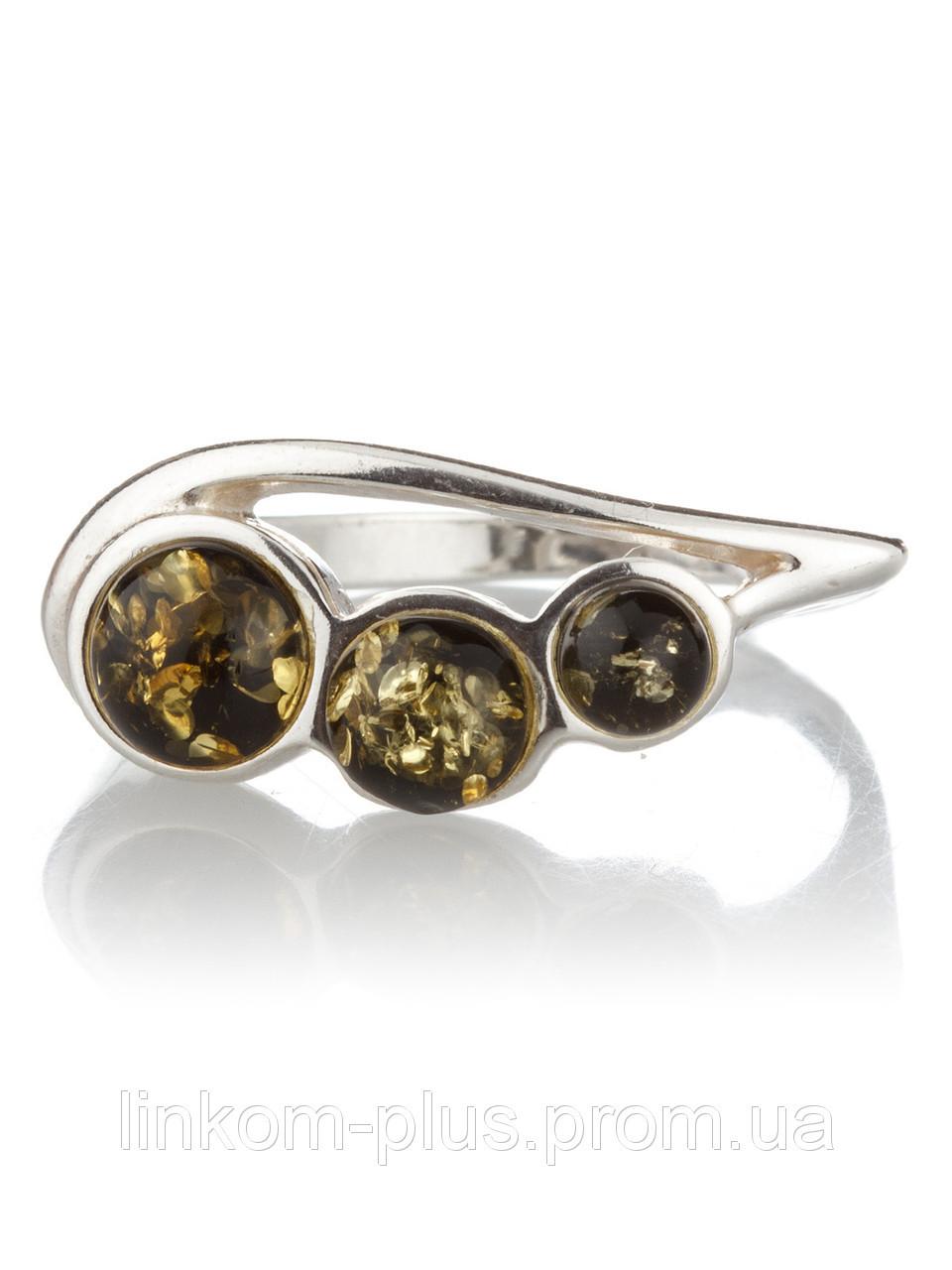 Кольцо с янтарем серебряное