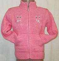Кофта вязанная теплая с карманами на девочек. Размер: 4-5 лет, 6-7 лет, 8-9 лет.