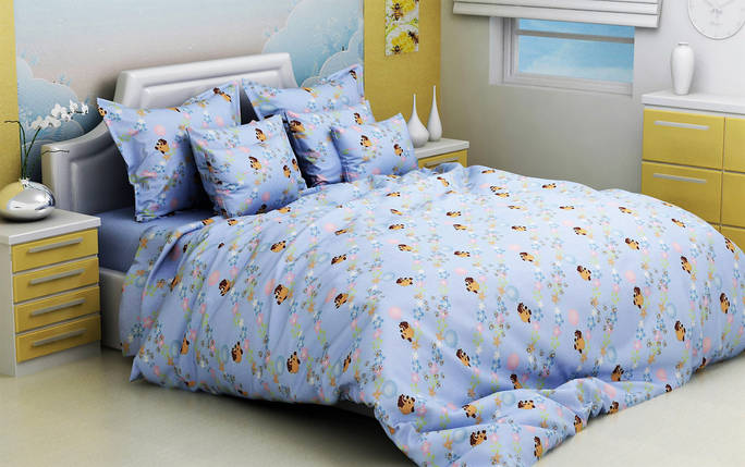 """Ткань для постельного белья Бязь """"Gold"""" Lux детская GLB3007blue (50м), фото 2"""
