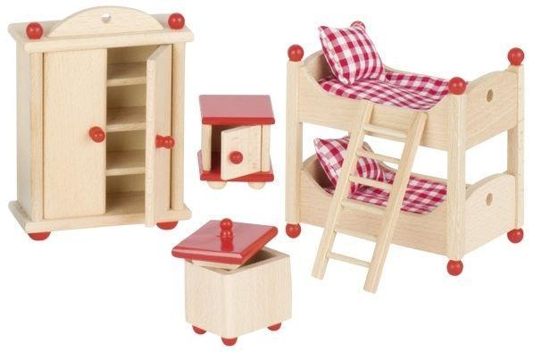 набор для кукол мебель для детской комнаты Goki 51953g из натурального дерева только качественная продукция от Supersumka