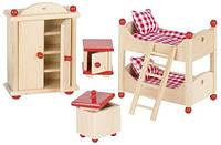Набор для кукол Мебель для детской комнаты Goki 51953G из натурального дерева