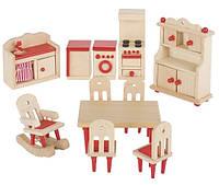 Набор для кукол Мебель для кухни Goki 51951G из натурального дерева