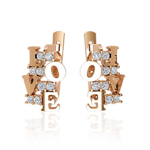 Золотые серьги love с фианитами. ГП41047
