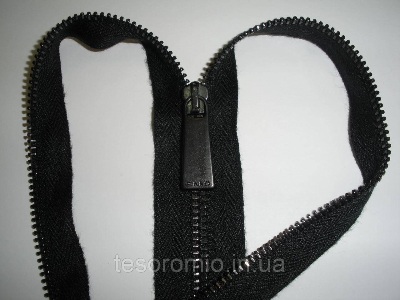 Молния металлическая, разъемная 50 см, 1 бегунок, тип 3. Основа - черная, зубцы - темные.