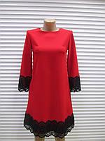 Женское нарядное Турецкое платье красного цвета с французским кружевом р.36