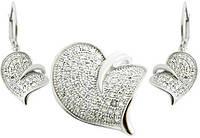 Серебряный набор Сердце (KS282) с цирконами (родирован)
