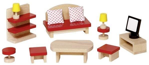 набор для кукол мебель для гостиной Goki 51716g из натурального дерева только качественная продукция от Supersumka