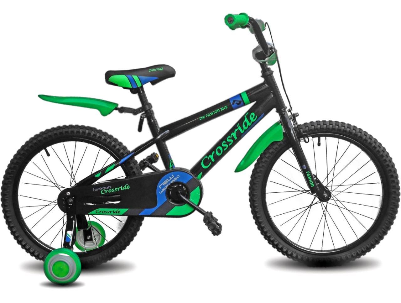 """Детский велосипед CROSSRIDE FASHION BIKE 20""""  Черный/Зеленый"""