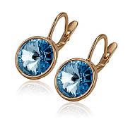 Серьги с большим голубым цирконом ( Swarovski Elements Jewelry)