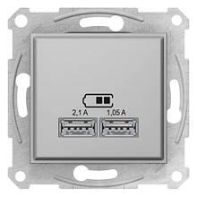 Розетка 2-я USB - 2,1A Алюминий Sedna SDN2710260