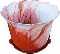 """Горшок для цветов пластиковый «Мадрид» с подставкой 2,5 литра """"ЧП КВВ"""""""