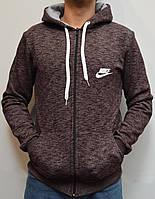 Мужская толстовка с капюшоном Nike (Найк) - коричневая, размеры:44,46,48