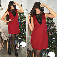 """Платье """"Арина"""" с кружевным декольте цвет красный размер S(42) - M(44)"""