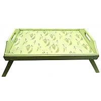 """Поднос в кровать """"Лаванда"""" фисташковый массив дерева (65х40х10 см)"""