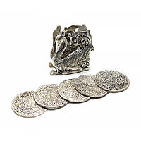 "Подстаканники ""Лебедь "" (н-р 6 шт) металл (9х8,5х4,5 см)(Непал)"