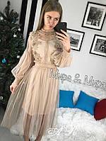 Женское изящное платье украшено кружевом (3 цвета)