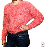 Женский джемпер розовый мохнатый свитер гольф р. S