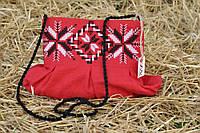 Красный клатч для с вышивкой