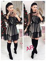 Женское стильное черное платье , фото 1