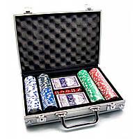 Покерный набор в алюминиевом кейсе (2 колоды+200 фишек)(30х22х7см)(вес фишки 4 гр. d-39 мм)