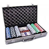 Покерный набор в алюм. кейсе (2 колоды+300фишек)(38х22,5х6,5 см)(вес фишки 4 гр. d-39 мм)