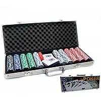 Покерный набор в кейсе (2 колоды карт +500 фишек) (57х21х7 см)(вес фишки 4 гр. d-39 мм)