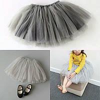 Пышная юбка для девочки серая