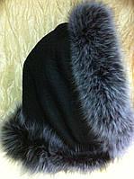 Капор чёрный с мелированным мехом песца