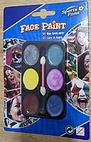 Аквагрим, краски для лица 6 цветов перламутр детская косметика