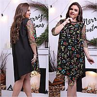 Женское платье цветочки +++БАТАЛ 48-60р