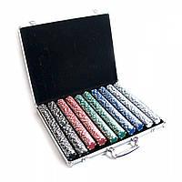 Покерные фишки в аллюминиевом кейсе (1000 фишек)(48х40х7 см)(вес фишки 4 гр. d-39 мм)