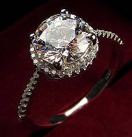Кольцо с цирконами, покрытие серебром Размер 18 (JZ009-18)