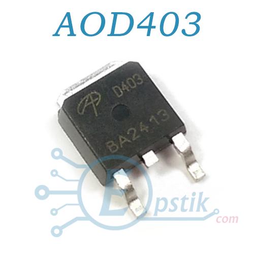 AOD403, Mosfet транзистор P-канал, 30В 70А, TO252