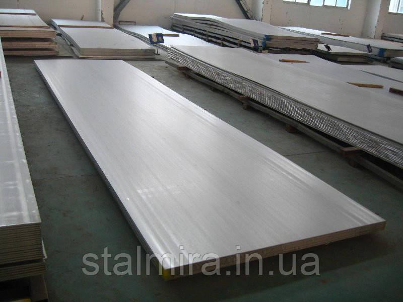 Лист нержавіючий, Розмір: 1,00 x 1250 x 2500 AISI 441-4+PVC Вага листа, кг 25