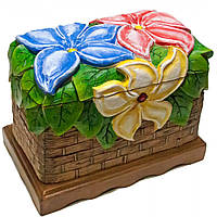 """Шкатулка резная """"Цветы"""", расписано вручную, массив дерева (15х24х19 см)"""