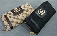 Кошелек женский Гуччи Gucci эко-кожа+текстиль черный