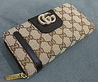 Кошелек женский Гуччи Gucci эко-кожа+текстиль коричневый