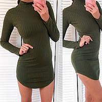 Повседневное платье молодежного фасона цвета хаки размер:С