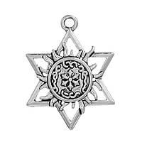 Подвеска Звезда Давида, Солнце, Цинковый сплав, Античное серебро, Ажурная резьба, 34 мм x 26 мм