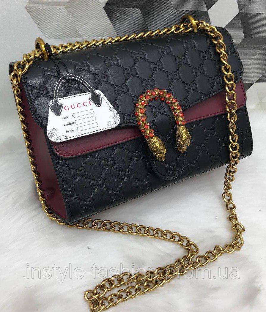 5562a3cddb22 Сумка клатч Gucci Гуччи на цепочке черная с бордовым - Сумки брендовые,  кошельки, очки