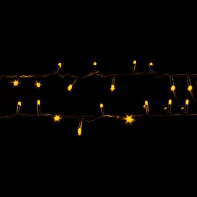 Гирлянда Уличная профессиональная String 10м (Нить) 100 LED тепло белая с флэшам черный кабель