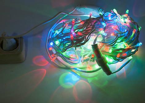 Гирлянда Уличная полу-профессиональная String 20м (Нить) 200 LED цветная с морганиям белый кабель