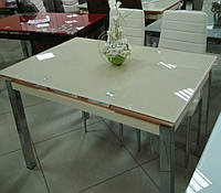Стол стеклянный раскладной обеденный ТВ17 бежевый 110\170*75*75