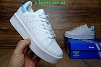 Подростковые повседневные кроссовки Adidas stan smith белые с голубым