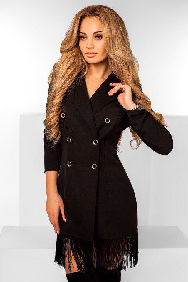 """Стильное короткое платье-пиджак """"Becky"""" с отложным воротником и бахромой (2 цвета)"""