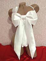 Белый бант-сюрприз на тело атласный , фото 1