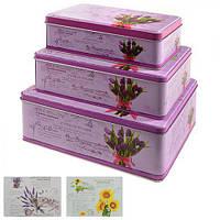 Коробка металлическая для хранения R82481 прямоугольная,(22*16*9 см, 20*13*7 см, 18*10*6 см), 3 шт, Коробка для продуктов, Металические кухонные